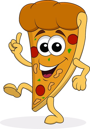 cartoon food: Pizza cartoon character