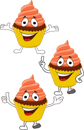 Cup cakes cartoon character Vector