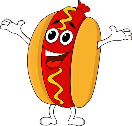 perro caliente: Hot dog personaje de dibujos animados