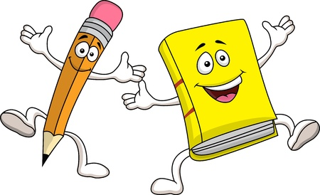 Pencil and book cartoon character Vector