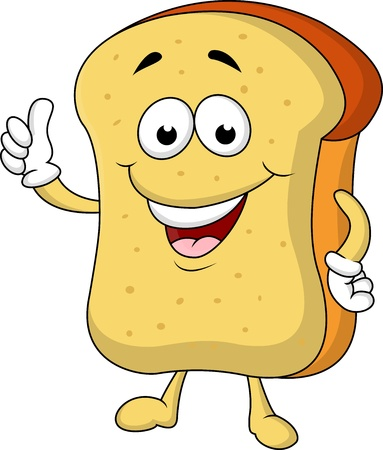 toast bread: Slice of bread cartoon character