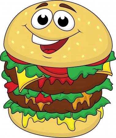 obesidad: Big Burger personaje de dibujos animados Vectores
