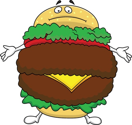 Fat burger cartoon character Vector