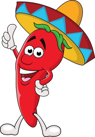 hot pepper: Chili cartoon with sombrero hat Illustration
