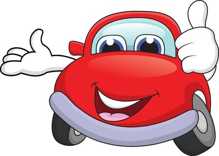 shiny car: Auto stripfiguur met duim omhoog Stock Illustratie