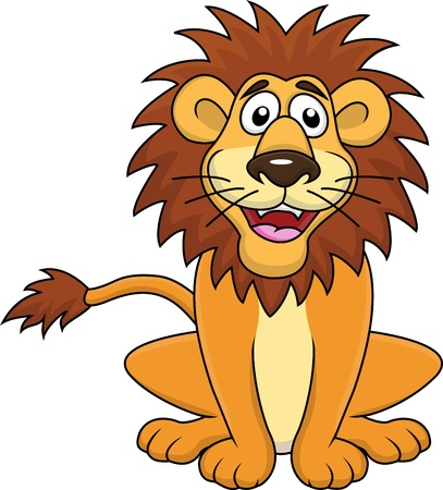 León de la historieta divertida sentado