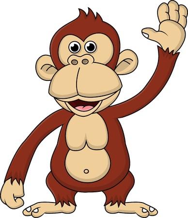 primate: Chimpanzee cartoon waving hand