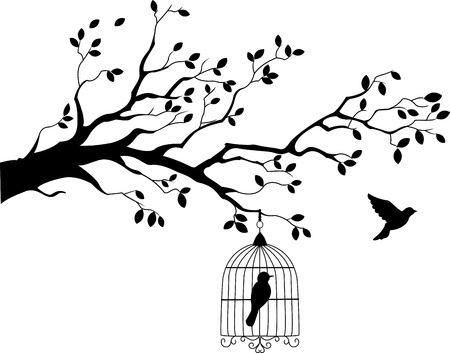 black bird: Tree silhouette with bird flying