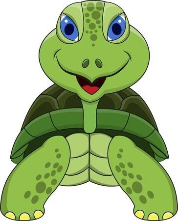 tortuga de caricatura: Tortuga sonriente de la historieta Vectores