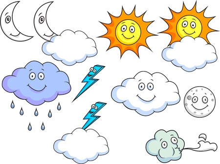 Cartoon Weather Symbols  Vector