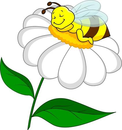 abeja caricatura: Abeja en la flor del sueño