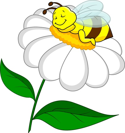 Bee sleeping on flower Vector
