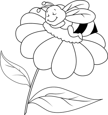 comic wasp: Bee sleeping on flower