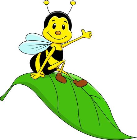 schattige dieren cartoon: Happy Bee zittend op blad