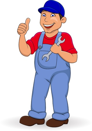 Mechanic man with thumb up Vector