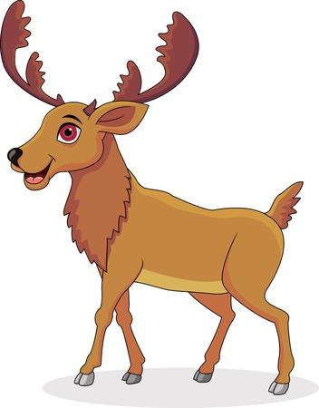 elk horn: Dibujos animados feliz alce