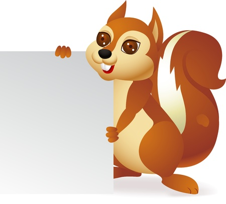 Squirrel with blank sign Vector
