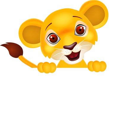 León con la muestra en blanco