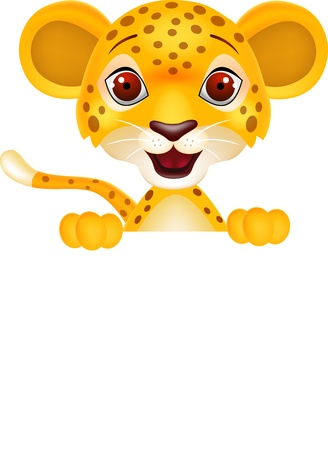 Baby leopard with blank sign Vector