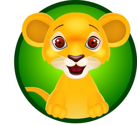 leon bebe: Ilustración vectorial de león bebé divertido