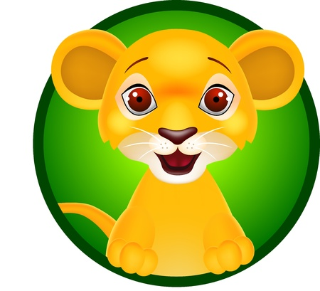 Vector illustration of funny baby lion Vector