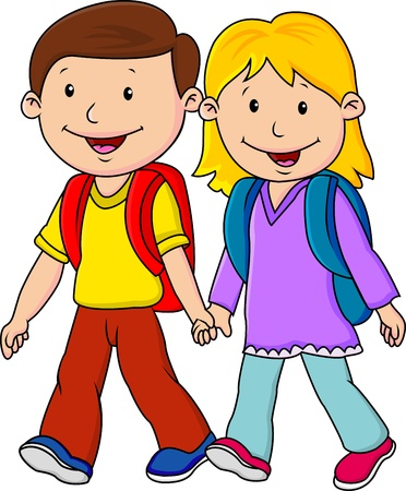 1 school bag: Kids on his way to school Illustration