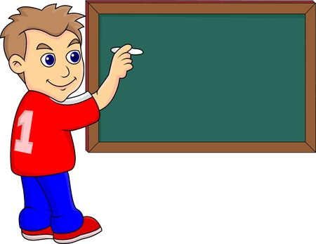 grade schooler: Illustration of a boy Writing on the Blackboard Illustration