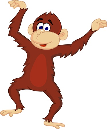 Funny monkey dancing Vector