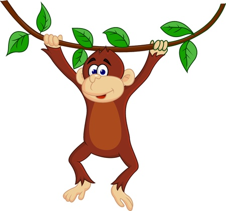 monkey in a tree: Vector illustration of funny monkey