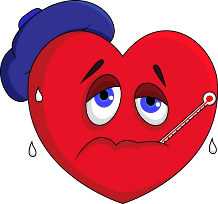 Carácter de corazón enfermo Ilustración de vector