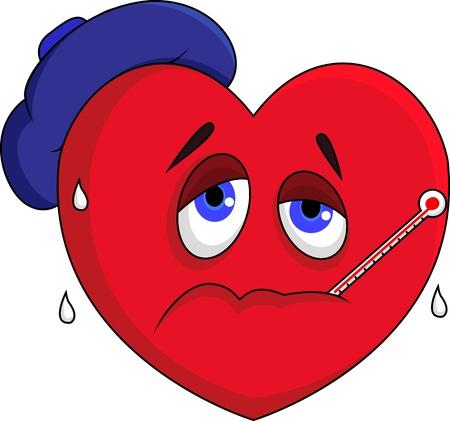 Sick heart character Vettoriali