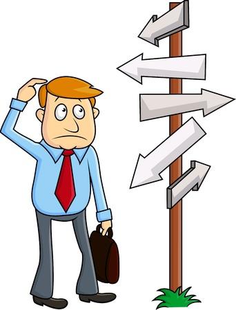 Een zaken man staat voor een verwarrende beslissing