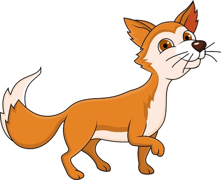Funny red fox cartoon