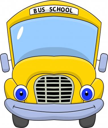 cartoon school: Schulbus Zeichentrickfigur Illustration