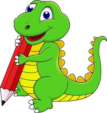 dinosaurio caricatura: Dibujos animados dinosaurio feliz escribiendo con lápiz