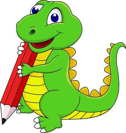Happy dinosaur cartoon writing with pencil Vector
