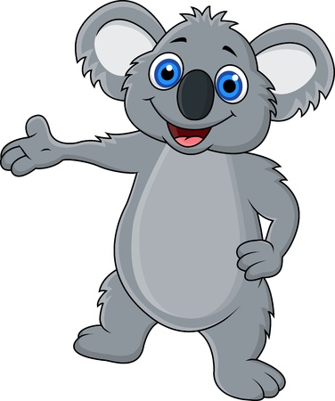 koala: Cartoon koala feliz que muestra Vectores