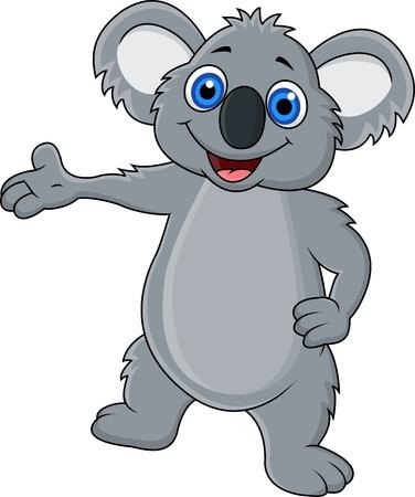 Happy koala cartoon showing