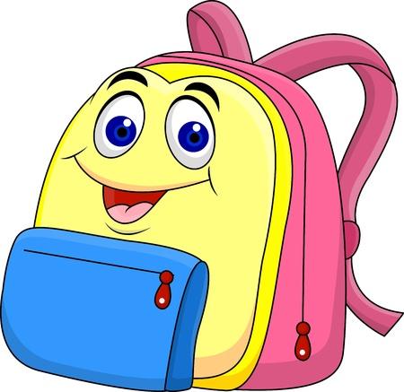 Personnage de dessin animé sac d'école Vecteurs