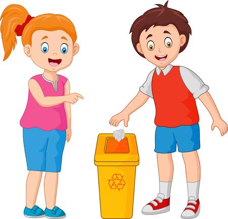 kind gooit afval in de prullenbak Vector Illustratie