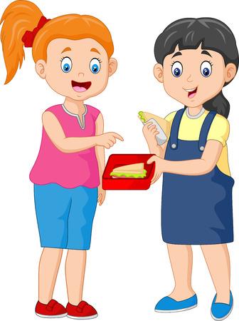 Fille mignonne partageant un sandwich avec un ami