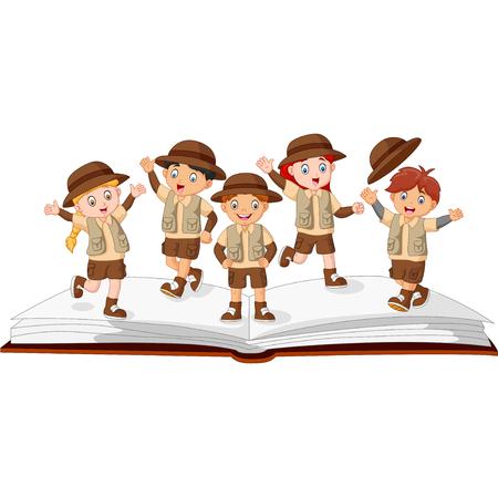 Kids Explorer On Top of an Open Story Book