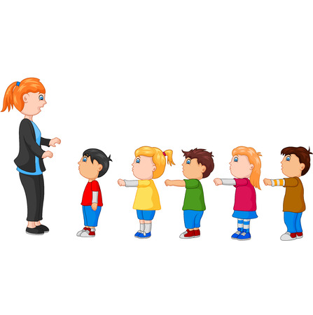 Kids with Arms Up Standing in Line In Front of the Teacher