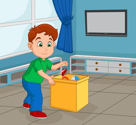 Niño pequeño recogiendo su juguete para guardarlo en el contenedor Ilustración de vector