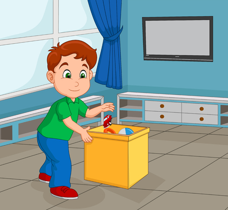 Boy Toddler Picking Up His Toy to Store in the Container