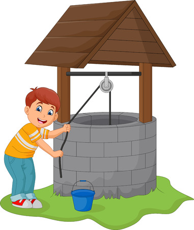 Junge nimmt Wasser in den Brunnen