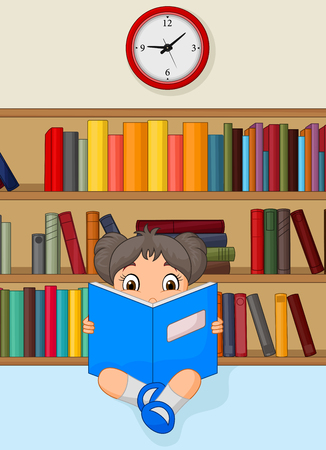 Girl Cartoon Reading a Book in Library