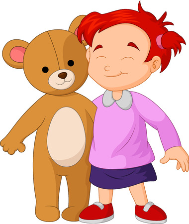 Girl cartoon hugging a big teddy bear toy Illustration