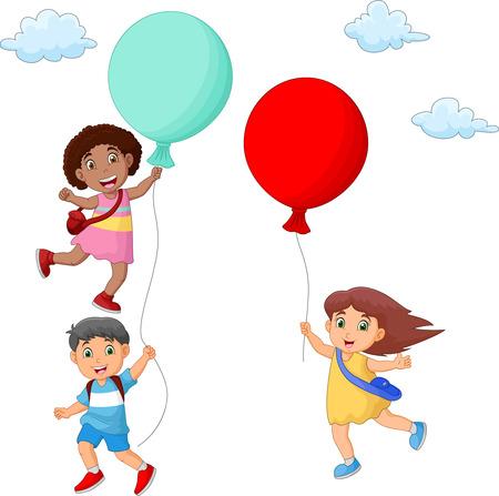 Kids cartoon Hanging on Balloon Vetores