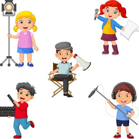 Des enfants dans différents rôles théâtraux, du réalisateur à l'acteur, du chef d'orchestre au perchman Vecteurs